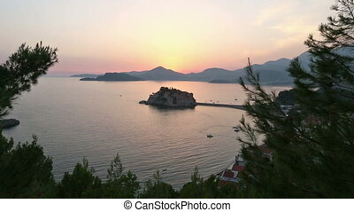 Sunset and Sveti Stefan sea islet