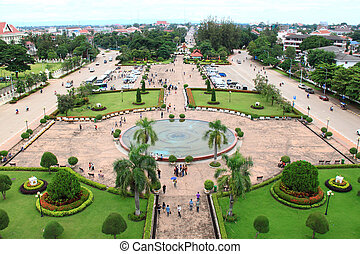 Vientiane cityscape, high angle view from the capital of...