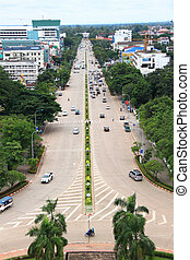 Vientiane laos - IS497-025 - above aerial view asia capital...