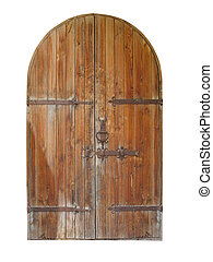vintage wooden door isolated over white - vintage wooden...