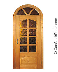 Closed natural wooden door with glass isolated