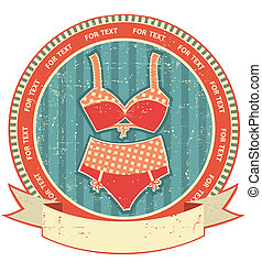 Lingerie label on old paper texture.Vintage retro style