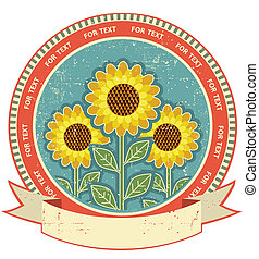 Sunflowers symbol on old paper texture.Vintage style
