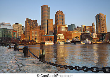 City of Boston. - Image of Boston city skyline at sunrise.