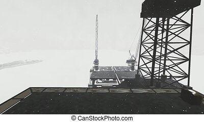 Oil rig platform standing in frozen sea