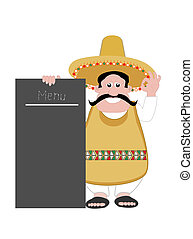 Mexican man with menu board - Mexican man with sombrero and...