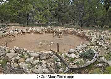 Ruins of Ancient Kiva Grand Canyon - the tusayan ruins of...
