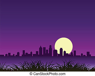 night city silhouette with moon, grass foreground