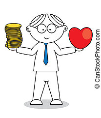 Man with a heart in hand and money