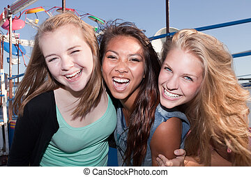 Three Friends Laughing Together