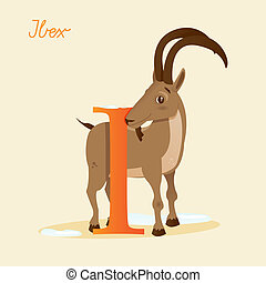 Animal alphabet with ibex