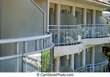 Balconies - Rows of balconies in a new apartment front of...