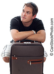 Young traveller man with luggage