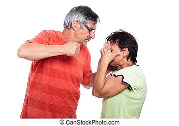 Aggression - Domestic violence abuse concept, aggressive man...