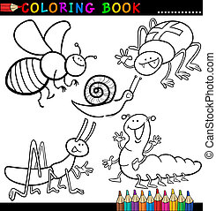 Insects and bugs for Coloring Book or Page - Coloring Book...