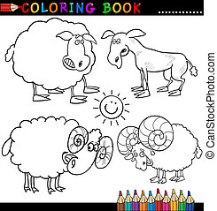 Farm Animals for Coloring Book or Page - Coloring Book or...