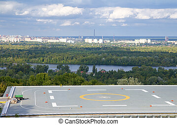 Helicopter landing pad under construction, Kyiv, Ukraine