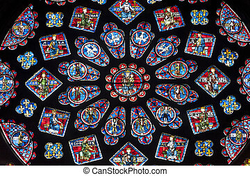 Chartres - Cathedral interior, rose window - Chartres...