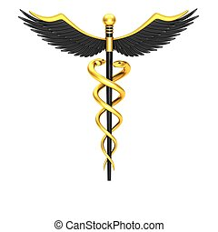 Black caduceus medical symbol isolated on a white background