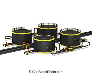 Black oil storage tank and pipeline on a white background