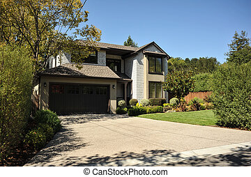 Two story single family house with driveway - Single family...
