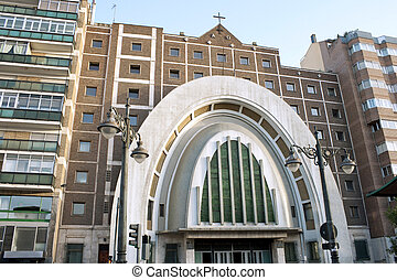 Valladolid, square Spain - Modern church on square Spain in...