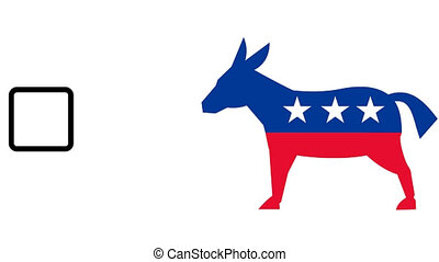 democrat donkey mascot voting - 2d video footage animation...
