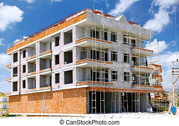 edificio, construcción, debajo