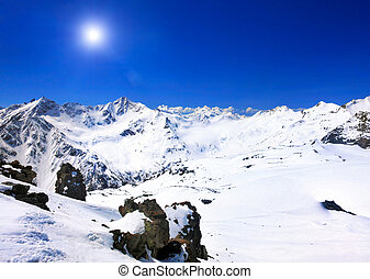 Beautiful view of mountains in the Elbrus area Europe