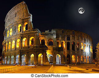 The Colosseum, Rome Night view - The Colosseum, the world...