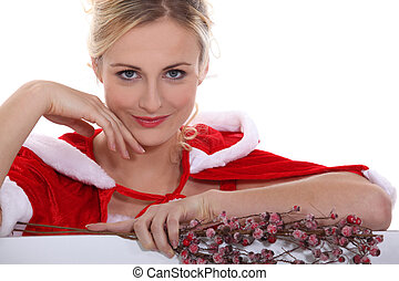 Woman dressed to celebrate Christmas