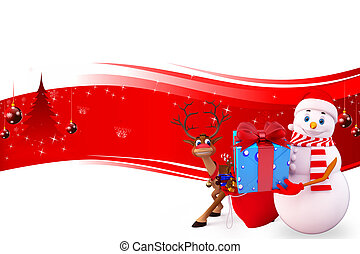 snow man with reindeer - 3d art illustration of snow man...