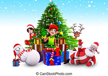 christmas elves sitting before tree - 3d art illustration of...