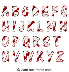 Christmas Candy Cane Color Alphabet Letters - Alphabet...
