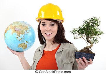 trabajador, plantación, árboles, al exterior