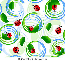 Vector illustration of seamless pattern with ladybug