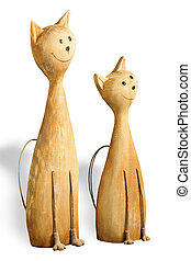 Two happy cats - Abstraction Two happy cats wooden toys...