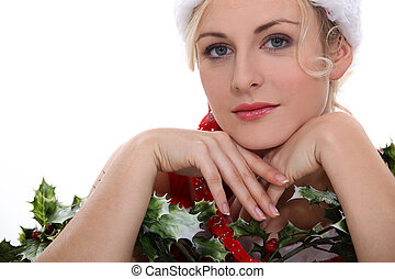 Woman with holly
