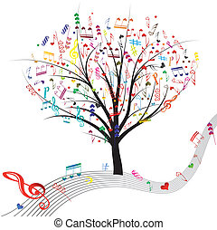 Music tree - Music tree hearts note symbol vector on wave...