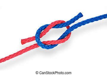 Fishers knot 01 - Fishers reef knot with red and blue ropes...