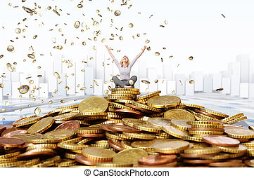happy rich woman - smiling woman and euro coin rain