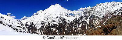 Beautiful view of mountaint Elbrus - highest peak of Europe.