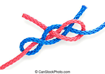 Fishers knot 08 - Fishers dagger knot with red and blue...