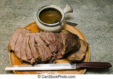 Roast beef - Cooked Roast beef on a cutting meat wooden...