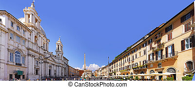 Navona Square, centre of  Rome, Italy.  Panorama
