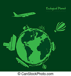 ecological transportation icons - Illustration of...