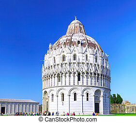 Cathedral, Tower of Pisa in Miracle square. Pisa