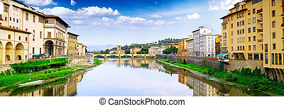 Arno river in Florence,Tuscany, Italy. Panorama - Arno river...