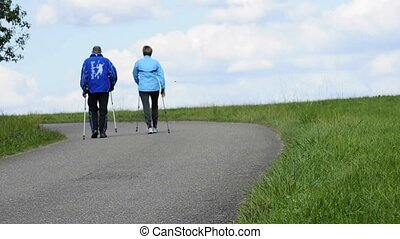 couple doing nordic walking