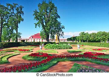 Garden of Monplaisir palace. Peterhof. - Garden of...